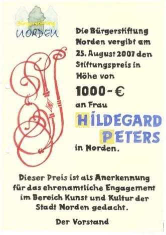 Stiftungspreis der Bürgerstiftung Norden - 2007